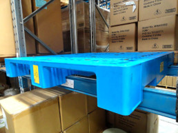 plastic pallet on rack