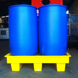 drums on spill contaiment pallet