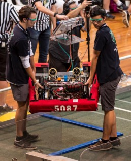 robot being transported to stage for the robotics competition